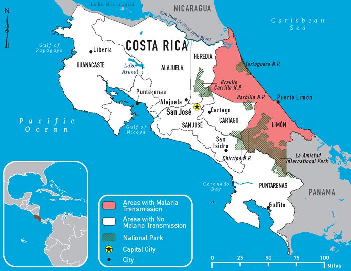 Malaria gebieden in Costa Rica